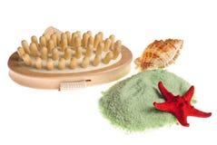 Bath spa borstel en overzees zout Royalty-vrije Stock Afbeelding