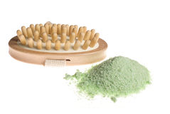 Bath spa brush and sea salt. Bath anti-cellulitis spa massage brush and green sea salt isolated on white background stock photo