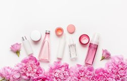 Bath and spa flat lay, peony flowers skin care products Royalty Free Stock Photography