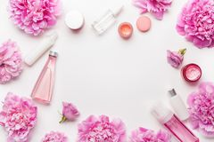 Bath and spa flat lay, peony flowers skin care products Stock Images