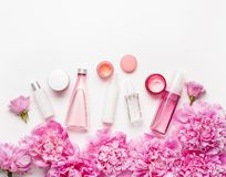 Bath and spa flat lay, peony flowers skin care products stock photos