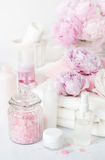Bath and spa with peony flowers beauty products towels Royalty Free Stock Photos