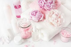Bath and spa with peony flowers beauty products towels Royalty Free Stock Photography