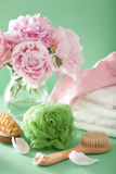 Bath and spa with peony flowers brush sponge towels Stock Image