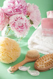 Bath and spa with peony flowers brush sponge towels Royalty Free Stock Photography