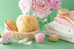 Bath and spa with peony flowers brush sponge towels Royalty Free Stock Images