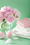 Bath and spa with peony flowers herbal salt towels Royalty Free Stock Images