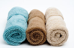 Bath/Spa Towels. Three towels isolated on white Stock Image