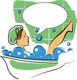 In the bath with speech bubble Royalty Free Stock Photo