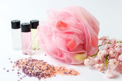 Free Bath Sponge And Salt With Pink Flowers Stock Images - 89723904