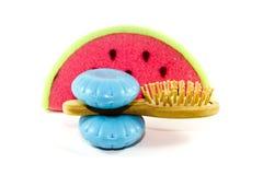 Bath Sponge with Blue Soap and Massage Brush Stock Photography