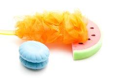 Bath Sponge with Blue Soap and Net Sponge Stock Photos