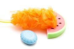 Bath Sponge with Blue Soap and Net Sponge Stock Photo