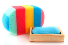 Bath sponge and soap Stock Photography