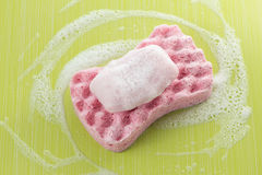 Bath sponge and soap Royalty Free Stock Images