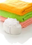 Bath sponge with towels Royalty Free Stock Image