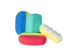 Bath sponges. Many color bath sponges over white Royalty Free Stock Photo