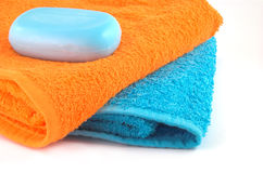 Bath stuff. Towels and soap for any beauty woman Stock Image