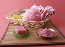 Bath things in basket Stock Photo