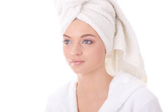 Bath time. Young beautiful caucasian woman after bath royalty free stock photography