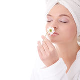Bath time. Young beautiful caucasian woman after bath with flower royalty free stock photo