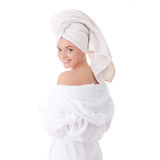 Bath time. Young beautiful caucasian woman after bath royalty free stock image