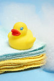 Bath Time. A rubber ducky and other bathing items come together to conceptualize a juveniles bath time Stock Photography