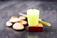 Bath Time. With Lemon Essence Candle stock photos