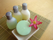 Bath Time 6. Bath soap and lotions stock image