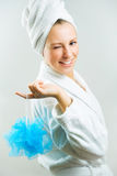 Bath time!. Girl with blue bath sponge royalty free stock photography