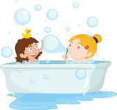 Bath time. Illustration of two girls taking a bath vector illustration