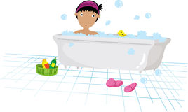 Bath time. Illustration of a girl taking a bath stock illustration