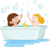Bath time. Illustration of two girls at bath time vector illustration