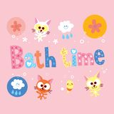 Bath time. Kids design with cute kittens stock illustration