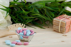 Bath Time color tablets for kids on wood background Stock Photos