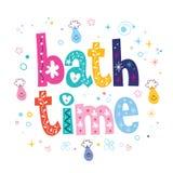 Bath time decorative lettering type design vector illustration