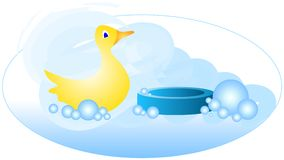 Bath Time Duck 2. Cute bath time fun with yellow rubber ducky, bar of blue soap, and blue bubbles. Light gradients add an almost 3D effect. Great for baby or stock illustration