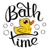 Bath time duck. Rubber duck decorative poster with handwritten inscription Bath Time. Vector graphics illustration with hand drawn lettering. Editable vector Royalty Free Stock Photo