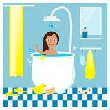Bath time. Girl taking a bath. EPS 10 Stock Images