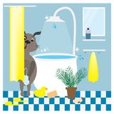 Bath time. Illustrtation with dog in the bathroom vector illustration