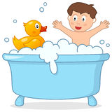 Bath Time with Little Boy & Rubber Duck Stock Image