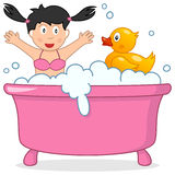 Bath Time with Little Girl & Rubber Duck Royalty Free Stock Photography