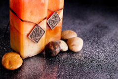 Bath Time Relaxation. With Candles And Stones royalty free stock photos