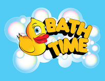 Bath Time Rubber Duck. An illustration of a rubber duck with the phrase Bath Time in bold, bright letters and surrounded in bubbles Royalty Free Stock Photo
