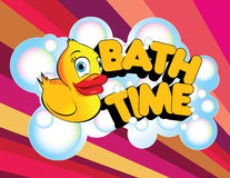Bath Time Rubber Duck. An illustration of a rubber duck with the phrase Bath Time in bold, bright letters and surrounded in bubbles Royalty Free Stock Photos