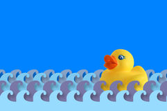 Bath time with a rubber duck. Royalty Free Stock Photo