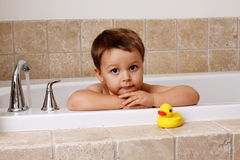 Bath time with rubber ducky Royalty Free Stock Images