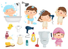 Bath Time Vector Set Stock Photography