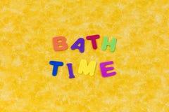 Bath time words color spelling preschool children letters stock photos