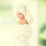 Bath time. Young beautiful caucasian woman after bath stock image